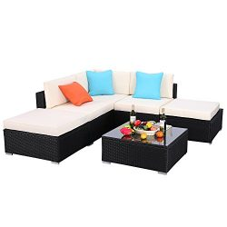 Do4U 6pcs Outdoor Patio Garden Rattan Wicker Sofa Set Sectional Furniture Set (Black 9009-6pcs)