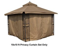 ALISUN Universal 10′ x 10′ Gazebo Curtain Set for 4 Sides – Brown