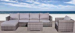Cabana Collection Outdoor Wicker Patio Furniture Sectional Conversation Sofa Set For Backyard, P ...