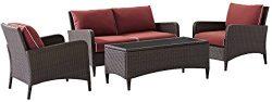 Crosley Furniture Kiawah 4-Piece Outdoor Wicker Conversation Set with Sangria Cushions – Brown