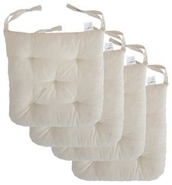 "Cottone 100% Cotton Chair Pads w/ Ties (Set of 4) | 16"" x 15"" Round Square 