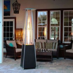Golden Flame Resort Model 40,000 BTU Glass Tube Pyramid Style Flame Patio Heater in Matte Black  ...