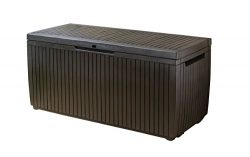 Keter Springwood Plastic Deck Storage Container Box Outdoor Patio Garden Furniture 80 Gal, Brown
