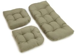 Blazing Needles Twill Settee Group Cushions, Sage, Set of 3