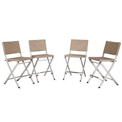 Cloud Mountain Set of 4 Outdoor Wicker Rattan Bar Stool Outdoor Patio Wicker Furniture Bar Stool ...