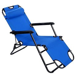 Lovinland Portable Chaise Lounge Folding Reclining Chair Bed Indoor Outdoor Recliner for Camping ...