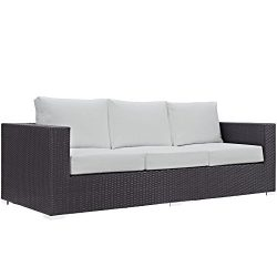 Modway Convene Wicker Rattan Outdoor Patio Sofa in Espresso White