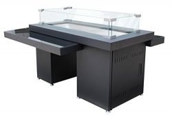 AZ Patio Two-Tier Fire Table with Glass Top, Large, Black