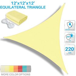 Patio Paradise 12'x12'x12′ Waterproof Sun Shade Sail-Canary Yellow Trangle UV  ...