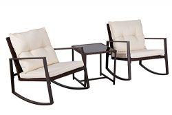 Suncrown Outdoor 3-Piece Rocking Wicker Bistro Set: Brown Wicker Furniture – Two Chairs wi ...