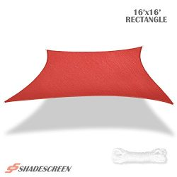 Shade Screen 16′ x 16′ Sun Shade Sail for Patio Backyard Deck UV Block Fabric &#8211 ...
