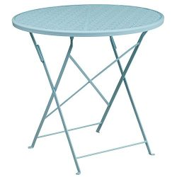 "Flash Furniture 30"" Round Sky Blue Indoor-Outdoor Steel Folding Patio Table"