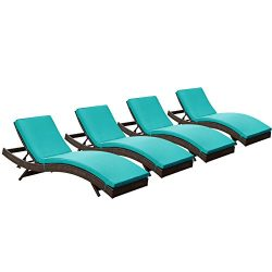 Modway Peer Outdoor Wicker Chaise Lounge Chair with Brown Rattan and Turquoise Cushions, Set of 4