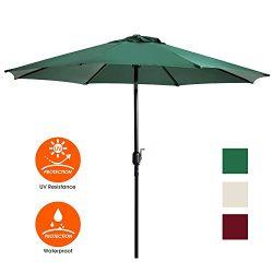 UHINOOS Patio Umbrella, 9 Ft Durable Alloy and Ribs outdoor umbrella, Made of 100% durable poly ...