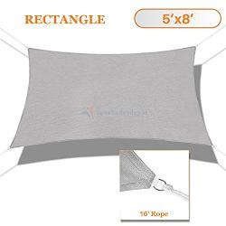 Sunshades Depot 5′ x 8′ Sun Shade Sail Square Permeable Canopy Light Gray/Grey Custo ...