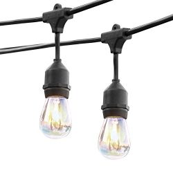 ASAE 48Ft Weatherproof Outdoor Patio String Lights with E26 Base Sockets, UL Listed Commercial G ...