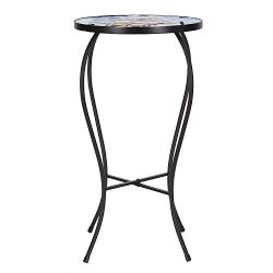 Adeco Round Side Table Plant Stand Flower Holder Accents Serving Snack Tea, Embossed Artistic Pa ...