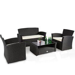 Cloud Mountain 4 PC Patio Wicker Furniture Set Conversation Sofa Cushioned Outdoor Rattan Set Ch ...