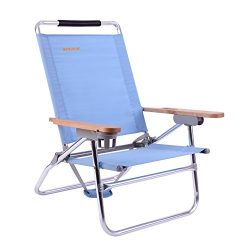 #WEJOY 4-Position Beach Chair Folding Beach Lounge Cooler Chair Lay Flat Aluminum Frame Backpack ...