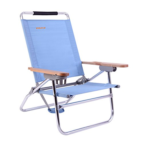 Wejoy 4 Position Beach Chair Folding Beach Lounge Cooler