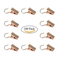 Coideal 100 Pack Stainless Steel Golden Curtain Clip Small String Party String Lights Hanger Wir ...