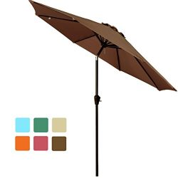 FARLAN Patio Umbrella 9 Ft Outdoor Table Aluminum offset market umbrellas with Push Button Tilt  ...