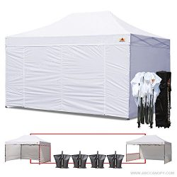 ABCCANOPY 10 X 15 Ez Pop up Canopy Tent Commercial Instant Gazebos with 6 Removable Sides and Ro ...