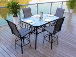 5pc Patio Bar Furniture Dining Set with Quick Dry PVC Fabric Swivel Chairs