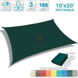 Patio Paradise 10′ x 20′ Dark green Sun Shade Sail Rectangle Square Canopy – P ...