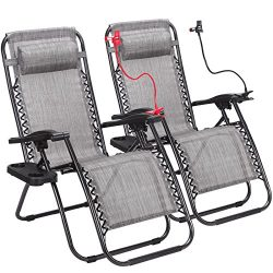 Super Decor Set of 2 Zero Gravity Outdoor Lounge Chairs w/Cup Holder with Mobile Device Slot Adj ...