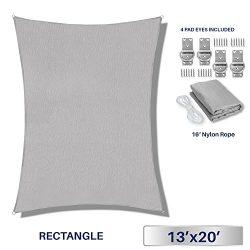 Windscreen4less 13′ x 20′ Rectangle Sun Shade Sail – Solid Light Grey Durable  ...