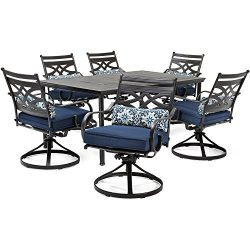 Hanover MCLRDN7PCSQSW6-NVY Montclair 7-Piece Set Blue with 6 Swivel Rockers and a 40″ x 67 ...