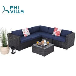 PHI VILLA 6-Piece Outdoor Rattan Sectional Sofa- Patio Wicker Furniture Set,Blue