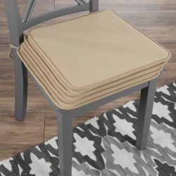 "Lavish Home 82-TEX1044TN Chair Cushions-Set of 4 Square Foam x 16"", Tan"