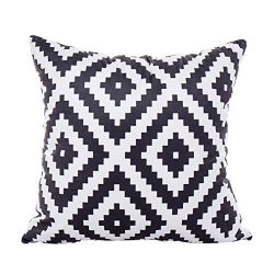 Lowprofile Polyester Throw Pillow Cases Black And White Cushion Cover For Office Home Cafe Sofa  ...