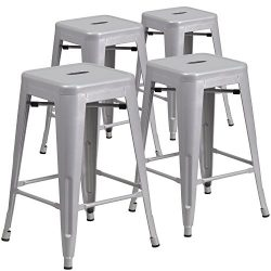 "Flash Furniture 4 Pk. 24"" High Backless Silver Metal Indoor-Outdoor Counter Height Stool w ..."