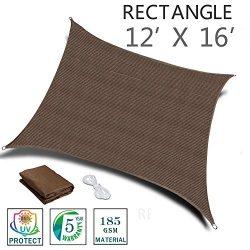 SUNNY GUARD 12′ x 16′ Brown Rectangle Sun Shade Sail UV Block for Outdoor Patio Garden
