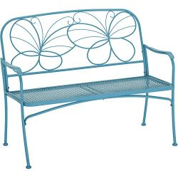 Mainstays` Blue Butterfly Outdoor Patio Bench, with Armrests,rounded Corners and a Sturdy Frame, ...