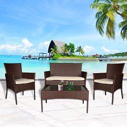 Cloud Mountain 4 PC Patio PE Rattan Wicker Furniture Set Backyard Sectional Furniture Outdoor Ga ...