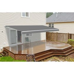 ALEKO AW12X10GY80 Retractable Patio Awning 12 x 10 Feet Gray