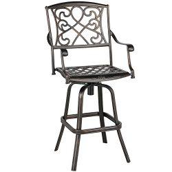 Yaheetech Outdoor Cast Aluminum Patio Chair 360 Degree Swivel Bar stool Patio Furniture Antique  ...