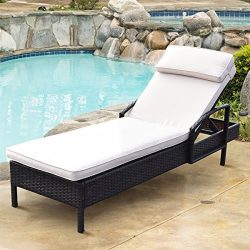 TANGKULA Patio Reclining Chaise Lounge Outdoor Beach Pool Yard Porch Wicker Rattan Adjustable Ba ...
