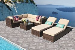 PATIOROMA Outdoor Furniture Sectional Sofa Set (6-Piece Set) All-Weather Brown Wicker with Beige ...