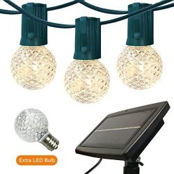 Outdoor String Lights Patio Lights – 24ft G40 Solar Powered LED String Lights Globe Lights ...