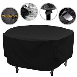 Patio Round Table and Chair Set Cover Outdoor Furniture Cover with Water Resistant and Durable F ...