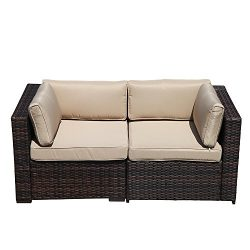 Super Patio 2 Piece Outdoor Furniture All Weather Wicker Corner Sofas Love Seat with Thick Beige ...