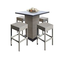 TK Classics Oasis Outdoor Wicker Patio 5Piece Pub Table Set with Backless Barstools Furniture, G ...