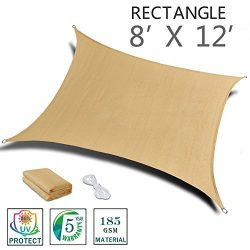 SUNNY GUARD 8′ x 12′ Sand Rectangle Sun Shade Sail UV Block for Outdoor Patio Garden