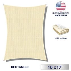 Windscreen4less 15′ x 17′ Rectangle Sun Shade Sail – Beige with White Strips D ...
