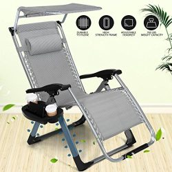 Heavy Duty ZeroGravityOutdoor Lounge Chairs Adjustable Folding Patio Reclining Chairs Beach Ch ...